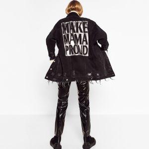 Zara Black Long Line Distressed Denim Jacket